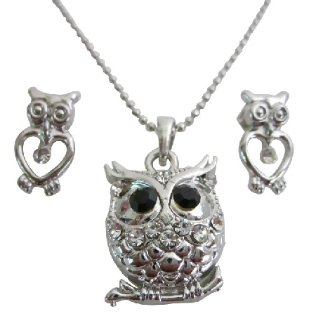 Cute Owl Pendant Earring Set In Silver Metal with Gift Box