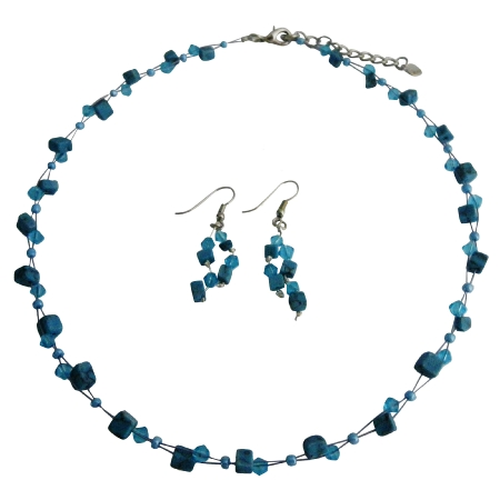 Custom Unique Turquoise Nuggets & Crystals Jewelry Set