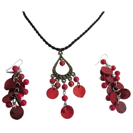 Unique Gift Affordable Jewelry Red Shell Pendant & Earrings Set