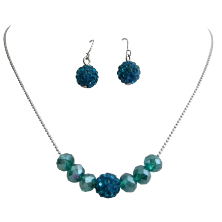 Party Wear Jewelry Indicolite Pave Ball Crystals Set