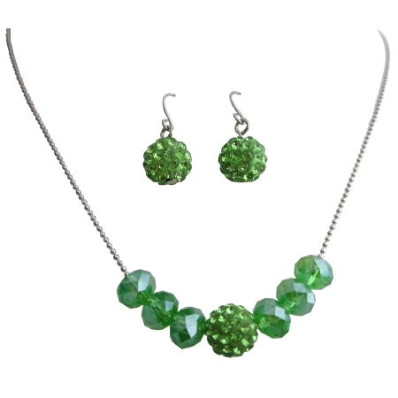 Gorgeous Inexpensive Wedding Jewelry in Green Crystals