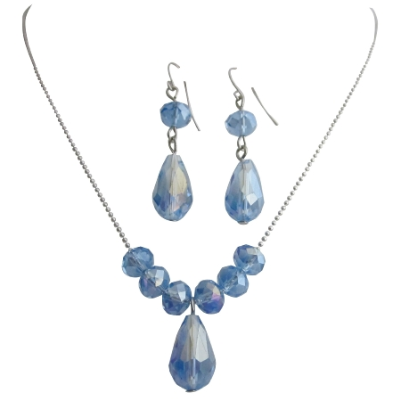 Lite Sapphire Blue Crystal Perfect Bride Bridesmaid Jewelry Set