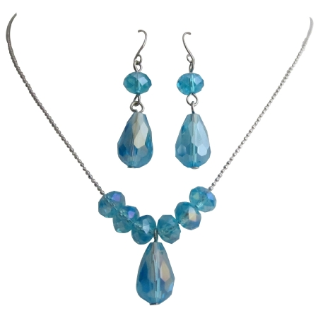 Shimmering Aquamarine Crystals Handmade Bridal Jewelry Set