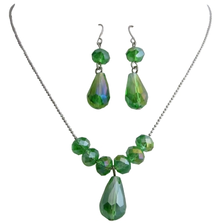 Peridot Crystals Beaded Wedding Party Gift Jewelry