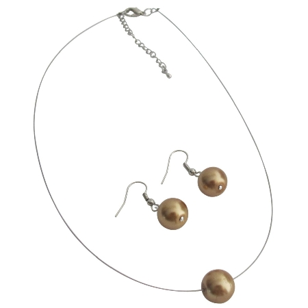 Ultimate Wedding Jewelry Bronze Single Pearl Necklace Earrings