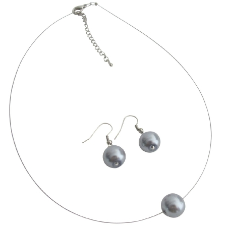 Delicate Elegant Gray Single Pearl Necklace with Earrings Set