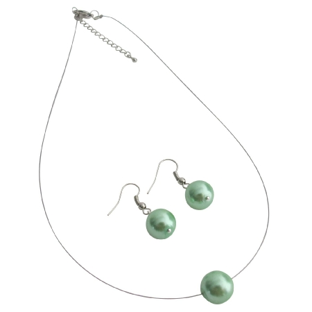 Elegance Style Green Single Pearl Necklace Earrings Set