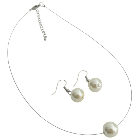 Perfect Collection Single Ivory Pearl Necklcae Earrings Set