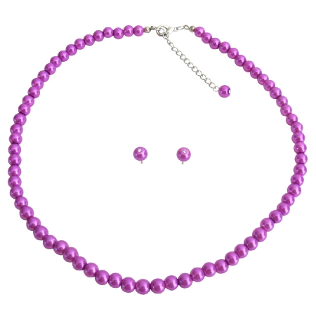Purple Pearl Necklace with Stud Earrings Jewelry Set