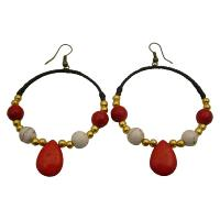 Dangle Coral Teardrop White Turquoise Golden Beads Wax Cord Earrings