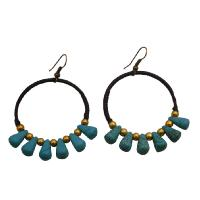 The Stylish Boho Woman Turquoise Teardrop Brass Beads Earrings from fashionjewelryforeveryone.com