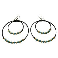 Double Circle Hoop Earrings Knitted Wax Cord Turquoise Golden Beads :  hoop earrings turquoise beads earrings cord