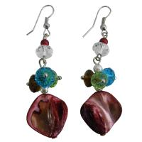 Beautiful Unique Shell Multicolor Beads Cluster Earrings from fashionjewelryforeveryone.com