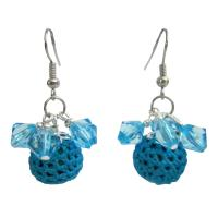 Party Christmas Jewelry X mas Girl Friend Gifts Blue Crochet Earrings from fashionjewelryforeveryone.com