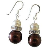 Wedding Accessories Jewelry Dark Brown ivory Diamante Earrings from fashionjewelryforeveryone.com
