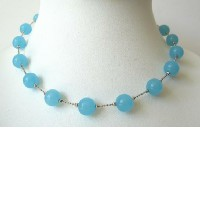 Blue Glass Faceted Beads Choker Necklace :  fashion gift glass beads accessories