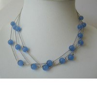 Multi Strands Dark Blue Faceted Beads Necklace Glass Beads Choker :  necklace beads fashion gift