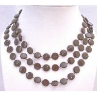 Flat Brown Darkest Brown Long Necklace Unique New Flat Bead Necklace