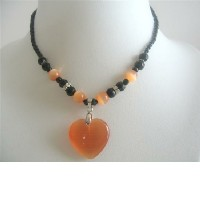 Lovely Citrine Cat Eye Pendant Necklace Black Beaded Choker