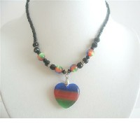 Heart Pendant Choker Colorful Cat Eye Heart Pendant Necklace Choker :  necklace pendant necklace fashion gift