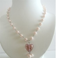 Pink Cultured Pearls Heart Pendant Necklace Dangling Pearls Necklace