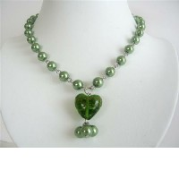 Cultured Pearls Heart Green Pearls w/ Glass Heart Pendant Necklace