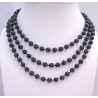Black Beads 7mm Lucite Beades Long Necklace Fancy Stunning Long Necklace 54 Inches Necklace