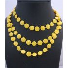 Flat Yellow bead Long Necklace Stunning Striking Yellow Bead Long Necklace