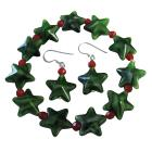 Christmas Stretchable Bracelet & Sterling Silver Earrings Green Star