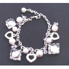 White Pearl Crystals Charm Bracelet Immitation Clear Crystal W/ Heart Charm Trendy Bracelet w/ Pearl Dangling