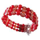 Return Gift For Girls Party Red Pearl Cuff Braclet Stretchable Bracelet