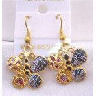 Glitter Butterfly Shimmering Gold Plated Butterfly Earrings