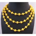 Sexy Yellow Beautiful Long Necklace Yellow Bead Long Necklace 54 Inches Long Necklace