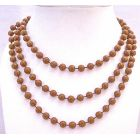 Long 2 Or 3 Strands Brown Necklace Lucite Brown Bead Long Necklace 54 Inches