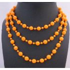 Orange Cultured Pearl Long 54 Inches Necklace