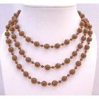 Striking Brown Long Necklace Small Big Beads Brown Long Necklace 54 Inches Long