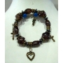 Stretchable Charm Bracelet Wooden Bead Brown Hanging Charm