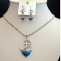 Mother Shell Necklace Set Anchor Pendant Dark Blue Necklace & Earrings