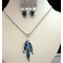Pendant Necklace & Earrings Blue Mother Shell Necklace Set