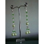 Drop Pearls Earrings in Bunch Green Cultured Pearls Crystals Earrings