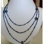 Long Necklace Blue Bead Chain Beaded Jewelry