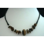 Choker Necklace 15 inches w/ Simulated Tiger Eye Bead(Brown)