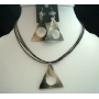 Black Shell Triangle Pendant Necklace Set w/ Thread String