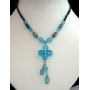 Crystals Necklace Blue Bead Simulated Aquamarine Crystals Drop Choker
