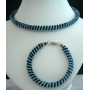 Choker & Bracelet In Simulated Turquoise & Black Necklace & Bracelet