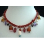 Shell Choker In Red Knitted Thread w/ Hanging Bead Necklace