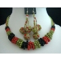 Beaded Necklace Set Multi Colored Red Green & Black Color