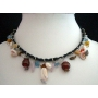 Shell Choker Black Knitted Thread w/ Hanging Multi Bead Necklace