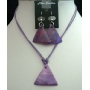 Purple Triangle Shell Pendant Necklace Set w/ Thread String