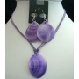 Purple Shell Pendant Necklace Set w/ Thread String